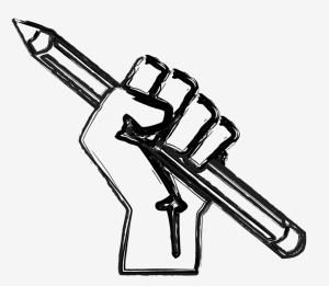 raised fist with pencil